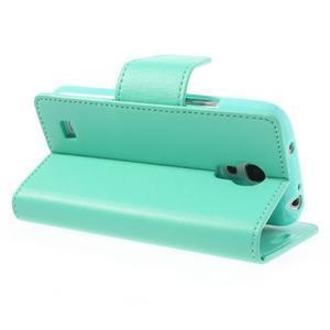 Sonata PU kožené pouzdro na mobil Samsung Galaxy S4 mini - azurové - 4