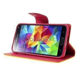 Diary peněženkové pouzdro na Samsung Galaxy S5 - žluté - 4