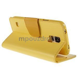 Elegantní peněženkové pouzdro na Samsung Galaxy S5 - žluté - 4