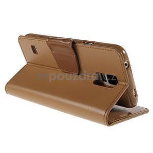 Elegantní peněženkové pouzdro na Samsung Galaxy S5 - hnědé - 4
