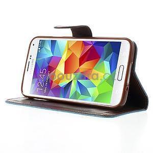 Jeans peněženkové pouzdro na mobil Samsung Galaxy S5 - světlemodré - 4
