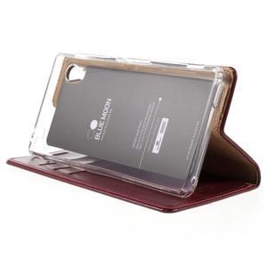 Moons PU kožené klopové pouzdro na Sony Xperia M4 Aqua - vínové - 4