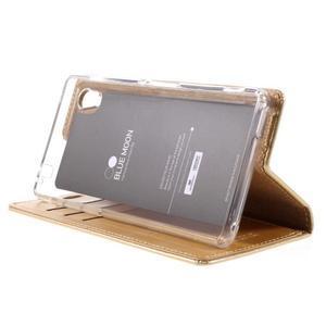Moons PU kožené klopové pouzdro na Sony Xperia M4 Aqua - zlaté - 4