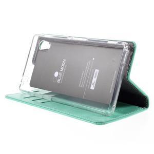 Moons PU kožené klopové pouzdro na Sony Xperia M4 Aqua - azurové - 4