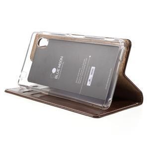 Moons PU kožené klopové pouzdro na Sony Xperia M4 Aqua - hnědé - 4