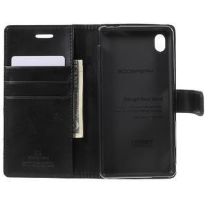 Moon PU kožené pouzdro na mobil Sony Xperia M4 Aqua - černé - 4