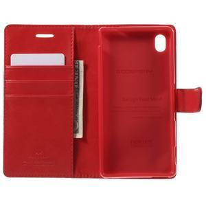 Moon PU kožené pouzdro na mobil Sony Xperia M4 Aqua - červené - 4