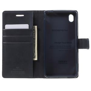 Moon PU kožené pouzdro na mobil Sony Xperia M4 Aqua - tmavěmodré - 4