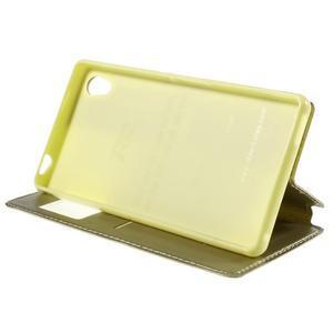 Okýnkové PU kožené pouzdro na Sony Xperia M4 Aqua - zlaté - 4