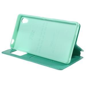 Okýnkové PU kožené pouzdro na Sony Xperia M4 Aqua - azurové - 4