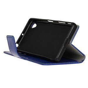 Horse PU kožené pouzdro na Sony Xperia X - modré - 4