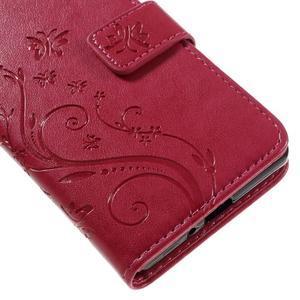 Butterfly PU kožené pouzdro na Sony Xperia X - červené - 4