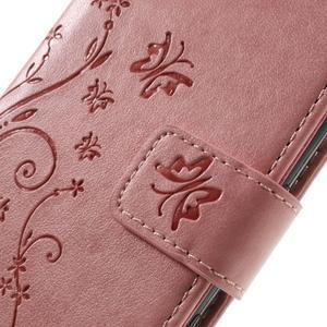 Butterfly PU kožené pouzdro na Sony Xperia X - růžové - 4