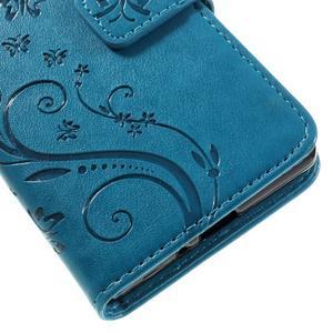 Butterfly PU kožené pouzdro na Sony Xperia X - modré - 4