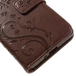 Butterfly PU kožené pouzdro na Sony Xperia X - hnědé - 4
