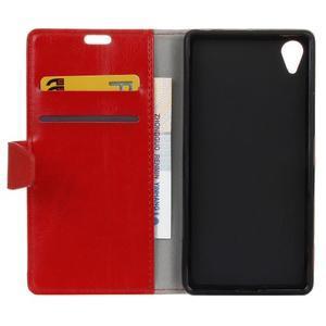Knížkové PU kožené pouzdro na Sony Xperia X - červené - 4