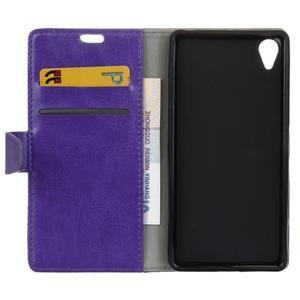 Knížkové PU kožené pouzdro na Sony Xperia X - fialové - 4