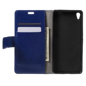 Horse PU kožené pouzdro na mobil Sony Xperia XA - modré - 4