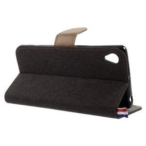 Denim textilní/koženkové pouzdro na Sony Xperia XA - černé - 4