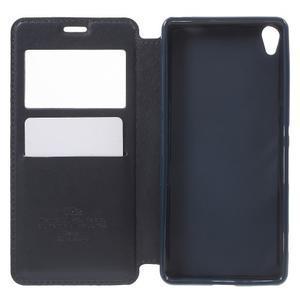Royal PU kožené pouzdro s okýnkem na Sony Xperia XA - tmavěmodré - 4