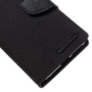 Canvas PU kožené/textilní pouzdro na mobil Sony Xperia XA - černé - 4