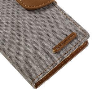 Canvas PU kožené/textilní pouzdro na mobil Sony Xperia XA - šedé - 4
