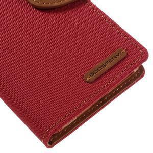 Canvas PU kožené/textilní pouzdro na mobil Sony Xperia XA - červené - 4