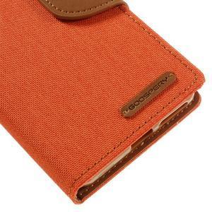 Canvas PU kožené/textilní pouzdro na mobil Sony Xperia XA - oranžové - 4