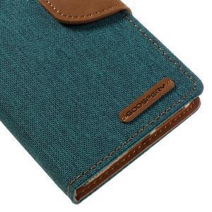 Canvas PU kožené/textilní pouzdro na mobil Sony Xperia XA - zelenomodré - 4