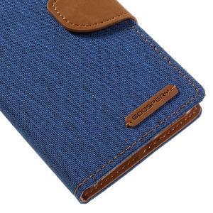 Canvas PU kožené/textilní pouzdro na mobil Sony Xperia XA - modré - 4