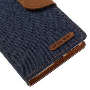 Canvas PU kožené/textilní pouzdro na mobil Sony Xperia XA - tmavěmodré - 4