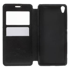 Royal PU kožené pouzdro s okýnkem na Sony Xperia XA - černé - 4