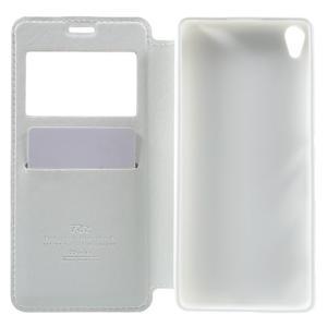 Royal PU kožené pouzdro s okýnkem na Sony Xperia XA - bílé - 4