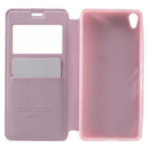 Royal PU kožené pouzdro s okýnkem na Sony Xperia XA - růžové - 4