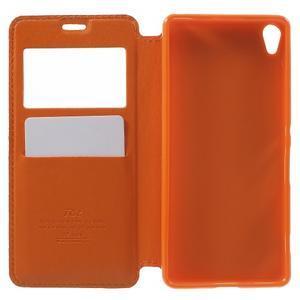Royal PU kožené pouzdro s okýnkem na Sony Xperia XA - oranžové - 4