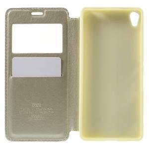 Royal PU kožené pouzdro s okýnkem na Sony Xperia XA - zlaté - 4