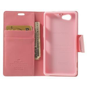 Sonata PU kožené pouzdro na mobil Sony Xperia Z1 Compact - růžové - 4