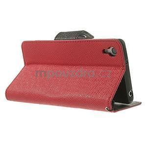 Stylové peněženkové pouzdro na Sony Xperia Z2 - červené/černé - 4