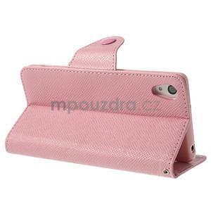 Stylové peněženkové pouzdro na Sony Xperia Z2 - růžové - 4
