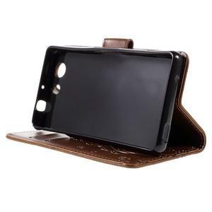 Butterfly PU kožené pouzdro na mobil Sony Xperia Z3 Compact - hnědé - 4