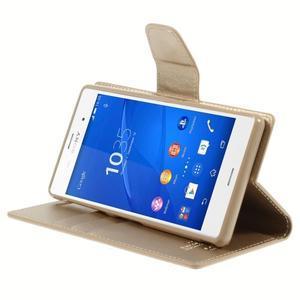Sonata PU kožené pouzdro na mobil Sony Xperia Z3 - zlaté - 4