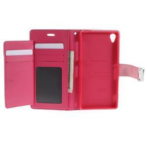 Luxury PU kožené pouzdro na mobil Sony Xperia Z3 - růžové - 4