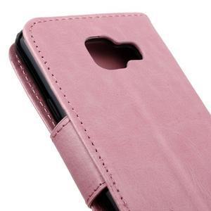 Hoor PU kožené pouzdro na mobil Samsung Galaxy A3 (2016) - růžové - 4