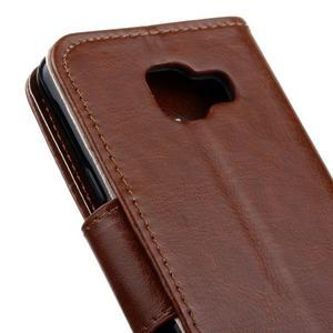 Hoor PU kožené pouzdro na mobil Samsung Galaxy A3 (2016) - hnědé - 4