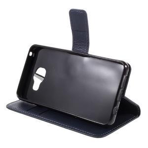 Liched koženkové pouzdro na Samsung Galaxy A3 (2016) - tmavěmodré - 4