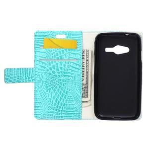 Croco peněženkové pouzdro na Samsung Galaxy Trend 2 Lite - cyan - 4