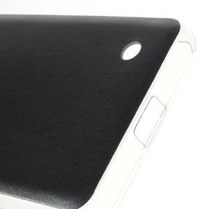 Gelový obal s jemnou koženkou na Microsoft Lumia 550 - černý - 4