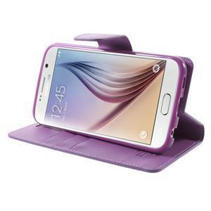 Diary PU kožené pouzdro na mobil Samsung Galaxy S6 -fialové - 4