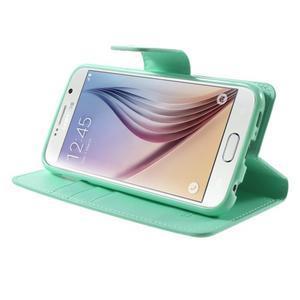 Diary PU kožené pouzdro na mobil Samsung Galaxy S6 -cyan - 4