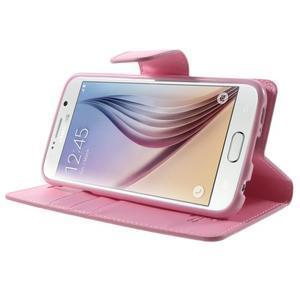 Diary PU kožené pouzdro na mobil Samsung Galaxy S6 -růžové - 4